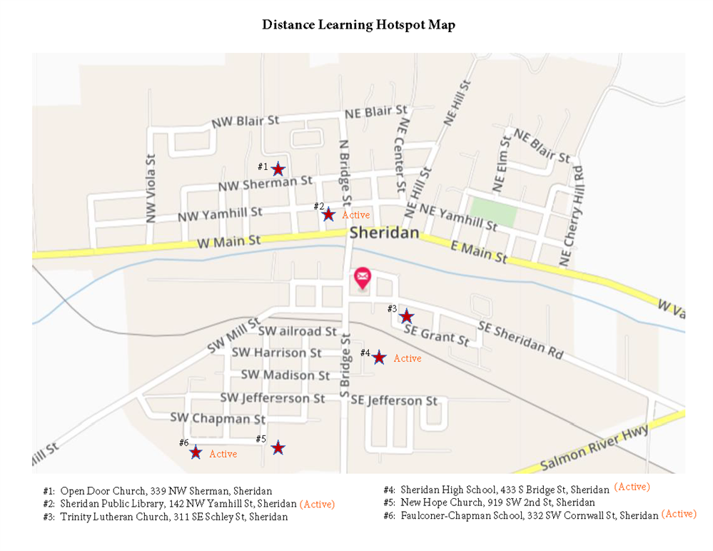 Locations for Distance Learning Hotspots in Sheridan