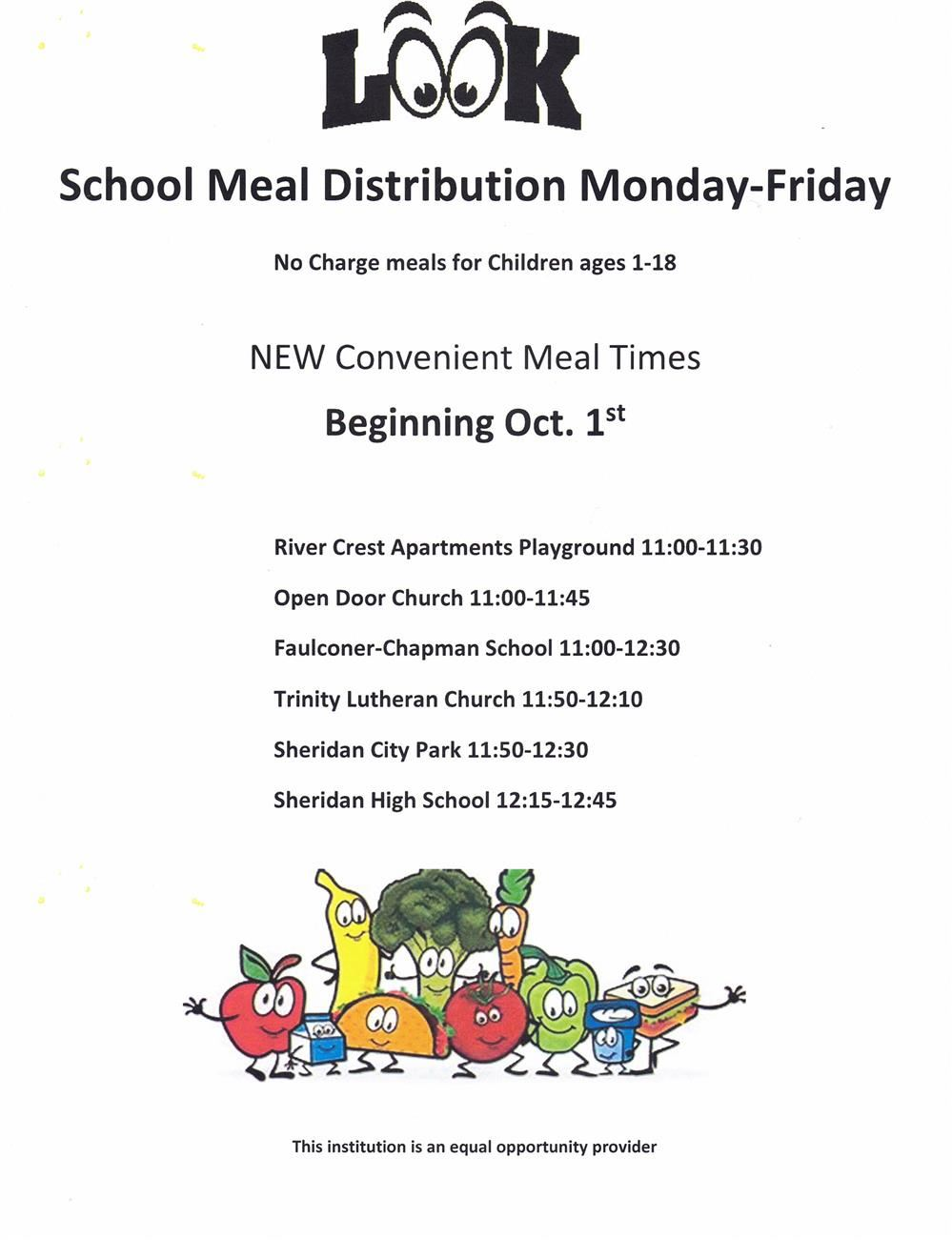 Meals for Kids at NO CHARGE - Distribution Sites and Times